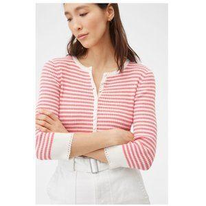 Rebecca Taylor La Vie Striped henley Pullover Top